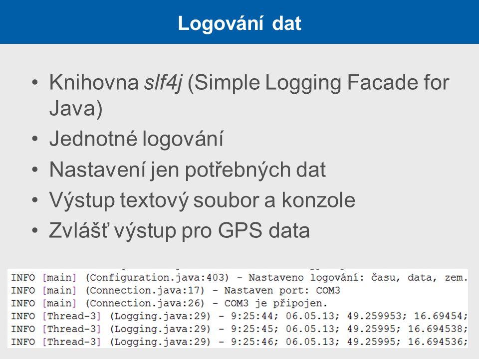 Logování dat Knihovna slf4j (Simple Logging Facade for Java) Jednotné logování Nastavení jen potřebných dat Výstup textový soubor a konzole Zvlášť výs
