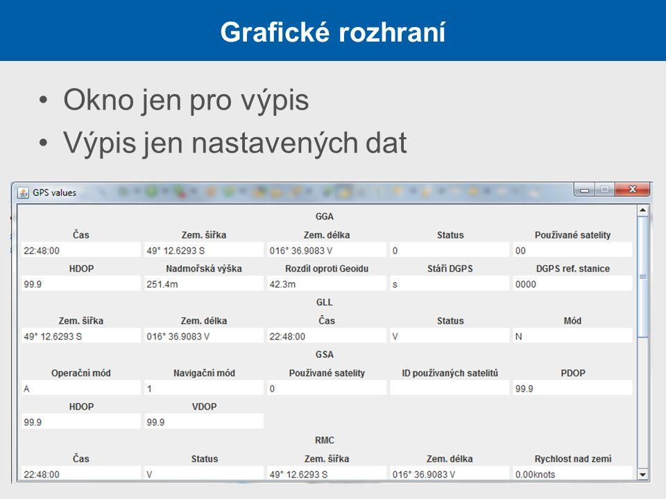 Grafické rozhraní Okno jen pro výpis Výpis jen nastavených dat