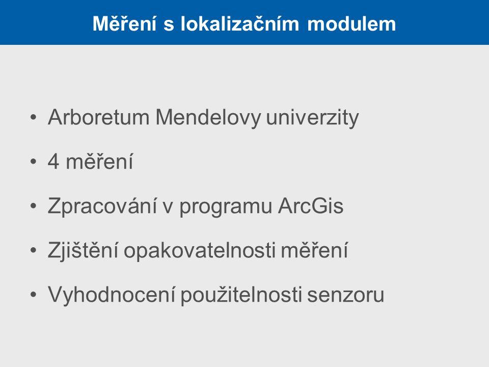 Měření s lokalizačním modulem Arboretum Mendelovy univerzity 4 měření Zpracování v programu ArcGis Zjištění opakovatelnosti měření Vyhodnocení použite