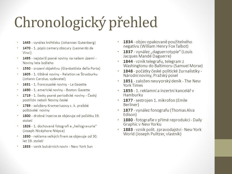 Chronologický přehled 1445 - vynález knihtisku (Johannes Gutenberg) 1470 - 1. popis camery obscury (Leonardo da Vinci) 1495 - nejstarší psané noviny n