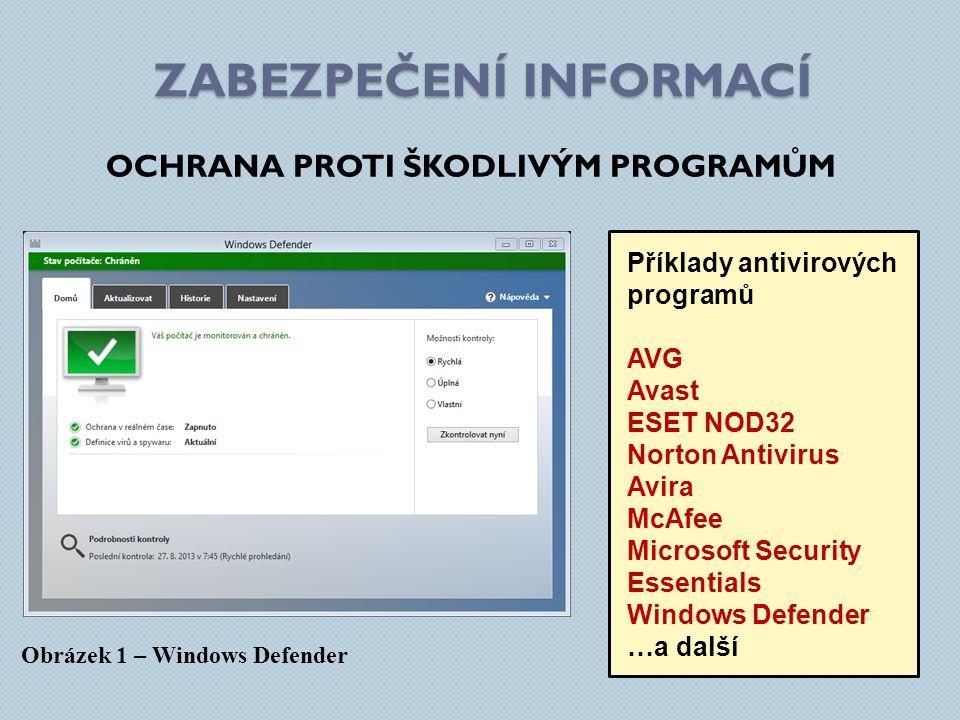 ZABEZPEČENÍ INFORMACÍ OCHRANA PROTI ŠKODLIVÝM PROGRAMŮM Obrázek 1 – Windows Defender Příklady antivirových programů AVG Avast ESET NOD32 Norton Antivirus Avira McAfee Microsoft Security Essentials Windows Defender …a další
