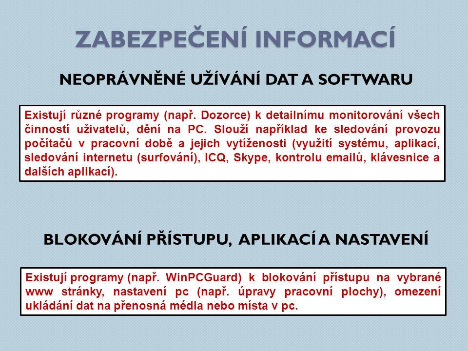 ZABEZPEČENÍ INFORMACÍ NEOPRÁVNĚNÉ UŽÍVÁNÍ DAT A SOFTWARU Existují různé programy (např.