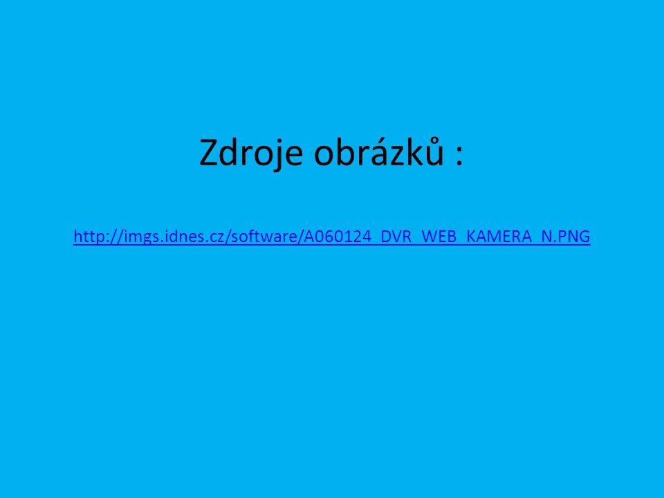 Zdroje obrázků : http://imgs.idnes.cz/software/A060124_DVR_WEB_KAMERA_N.PNG http://imgs.idnes.cz/software/A060124_DVR_WEB_KAMERA_N.PNG