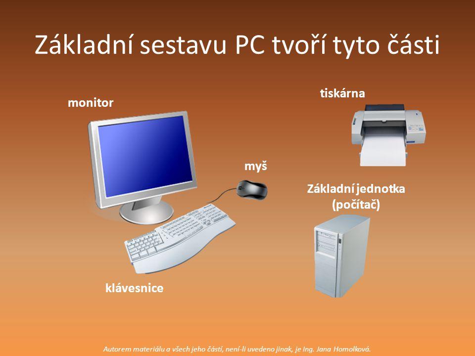 Základní sestavu PC tvoří tyto části klávesnice monitor myš Základní jednotka (počítač) tiskárna Autorem materiálu a všech jeho částí, není-li uvedeno