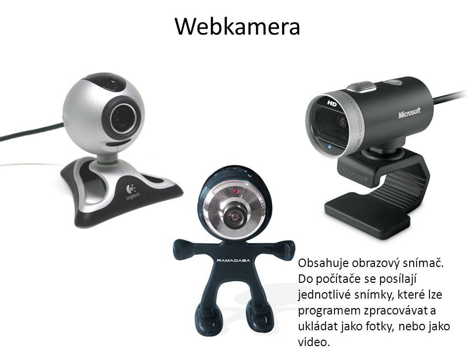 Webkamera Obsahuje obrazový snímač.