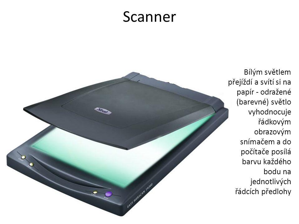 Scanner Bílým světlem přejíždí a svítí si na papír - odražené (barevné) světlo vyhodnocuje řádkovým obrazovým snímačem a do počítače posílá barvu každého bodu na jednotlivých řádcích předlohy