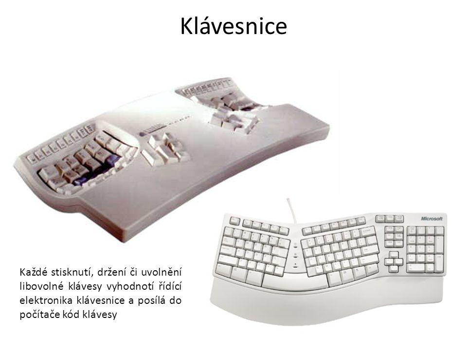 Každé stisknutí, držení či uvolnění libovolné klávesy vyhodnotí řídící elektronika klávesnice a posílá do počítače kód klávesy