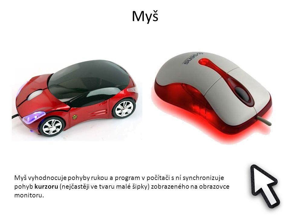 Myš Myš vyhodnocuje pohyby rukou a program v počítači s ní synchronizuje pohyb kurzoru (nejčastěji ve tvaru malé šipky) zobrazeného na obrazovce monitoru.