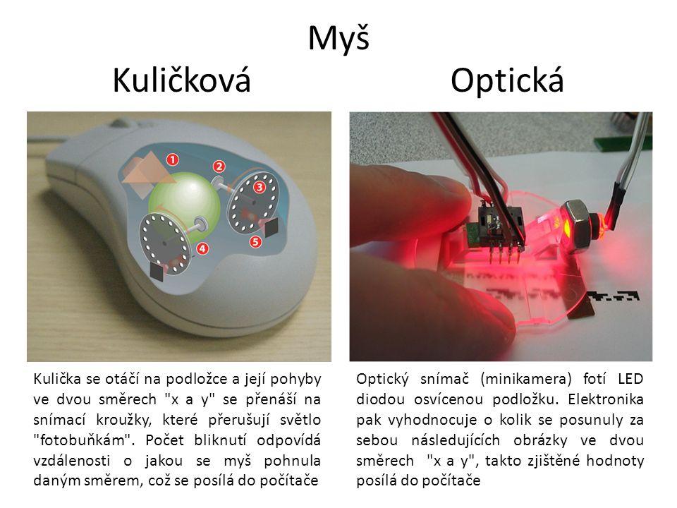 KuličkováOptická Kulička se otáčí na podložce a její pohyby ve dvou směrech x a y se přenáší na snímací kroužky, které přerušují světlo fotobuňkám .