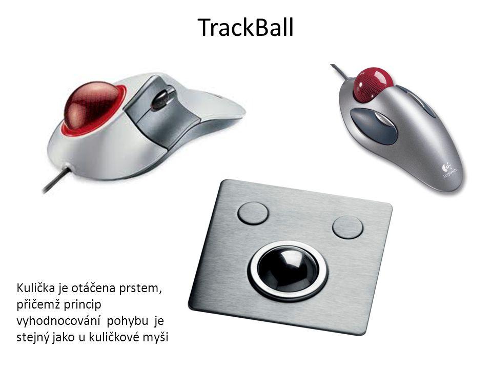 TrackBall Kulička je otáčena prstem, přičemž princip vyhodnocování pohybu je stejný jako u kuličkové myši