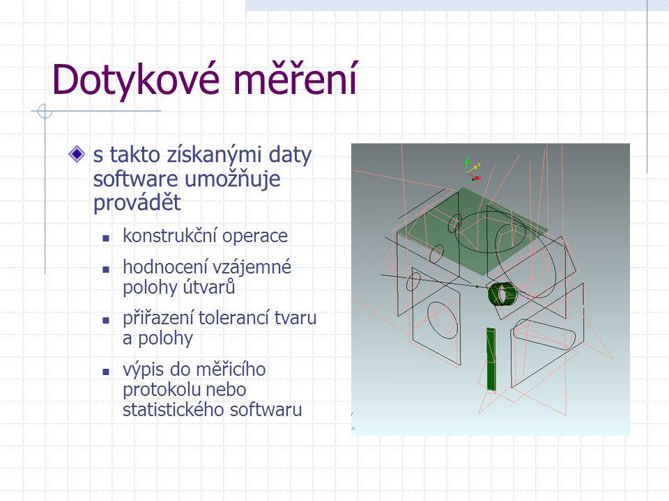 Dotykové měření s takto získanými daty software umožňuje provádět konstrukční operace hodnocení vzájemné polohy útvarů přiřazení tolerancí tvaru a pol