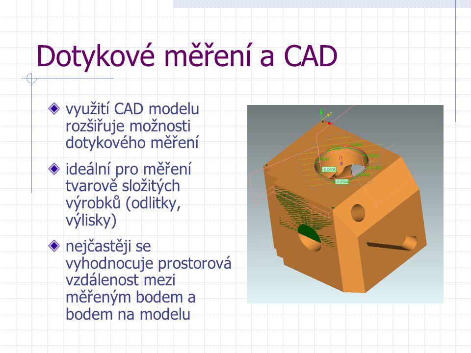 Dotykové měření a CAD využití CAD modelu rozšiřuje možnosti dotykového měření ideální pro měření tvarově složitých výrobků (odlitky, výlisky) nejčastě