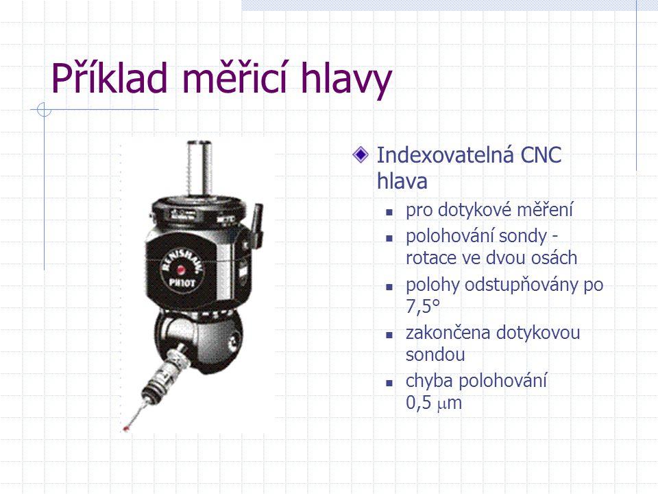 Příklad měřicí hlavy Indexovatelná CNC hlava pro dotykové měření polohování sondy - rotace ve dvou osách polohy odstupňovány po 7,5° zakončena dotykov
