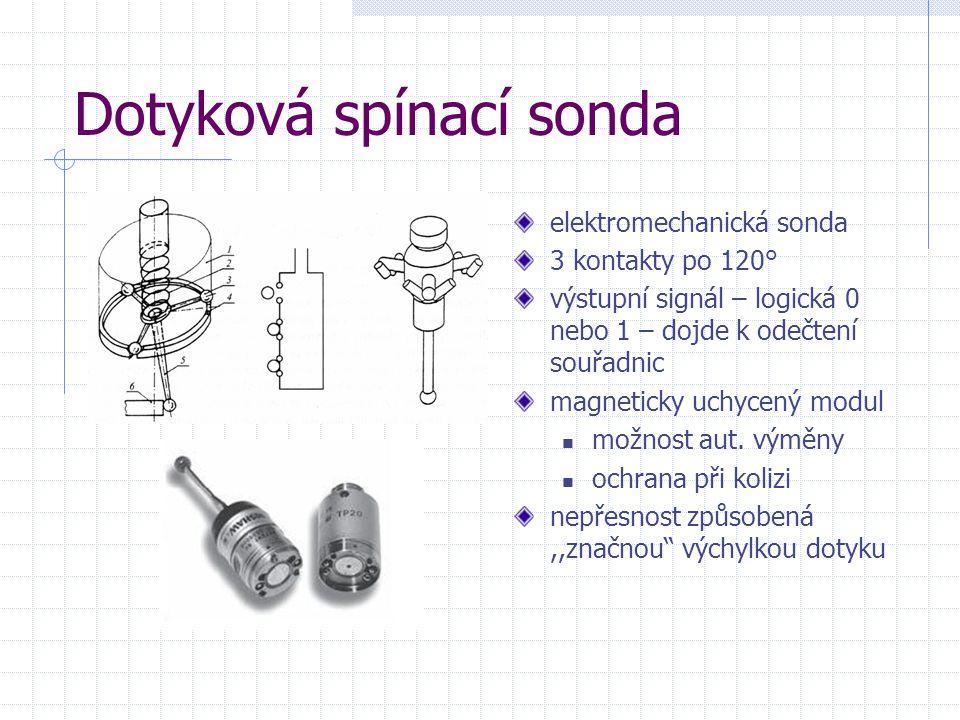 Dotyková spínací sonda elektromechanická sonda 3 kontakty po 120° výstupní signál – logická 0 nebo 1 – dojde k odečtení souřadnic magneticky uchycený