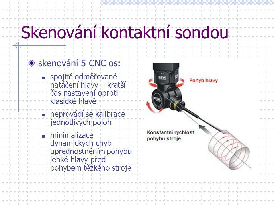 Skenování kontaktní sondou skenování 5 CNC os: spojitě odměřované natáčení hlavy – kratší čas nastavení oproti klasické hlavě neprovádí se kalibrace j