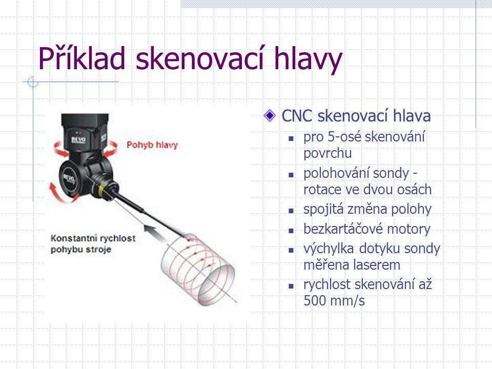 Příklad skenovací hlavy CNC skenovací hlava pro 5-osé skenování povrchu polohování sondy - rotace ve dvou osách spojitá změna polohy bezkartáčové moto