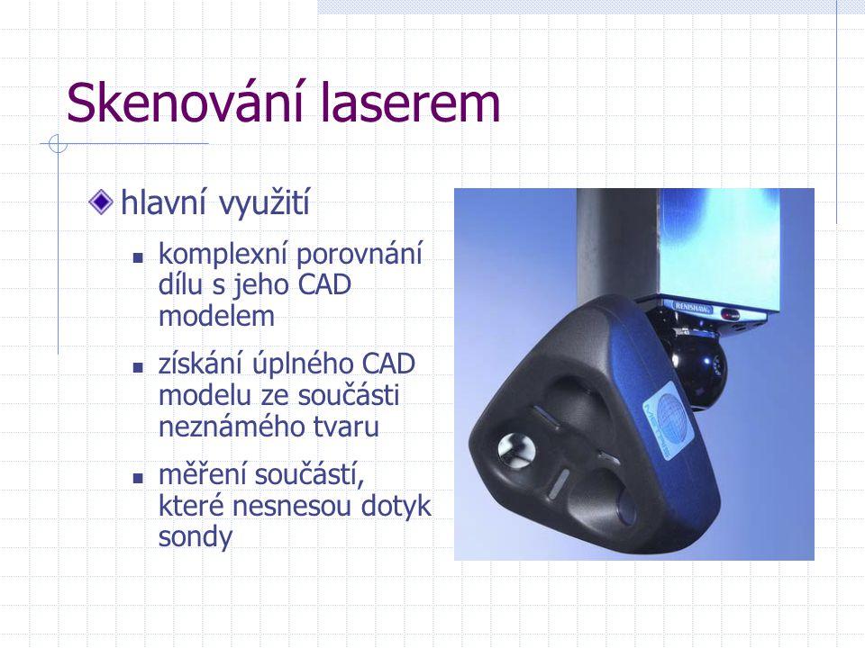 Skenování laserem hlavní využití komplexní porovnání dílu s jeho CAD modelem získání úplného CAD modelu ze součásti neznámého tvaru měření součástí, k
