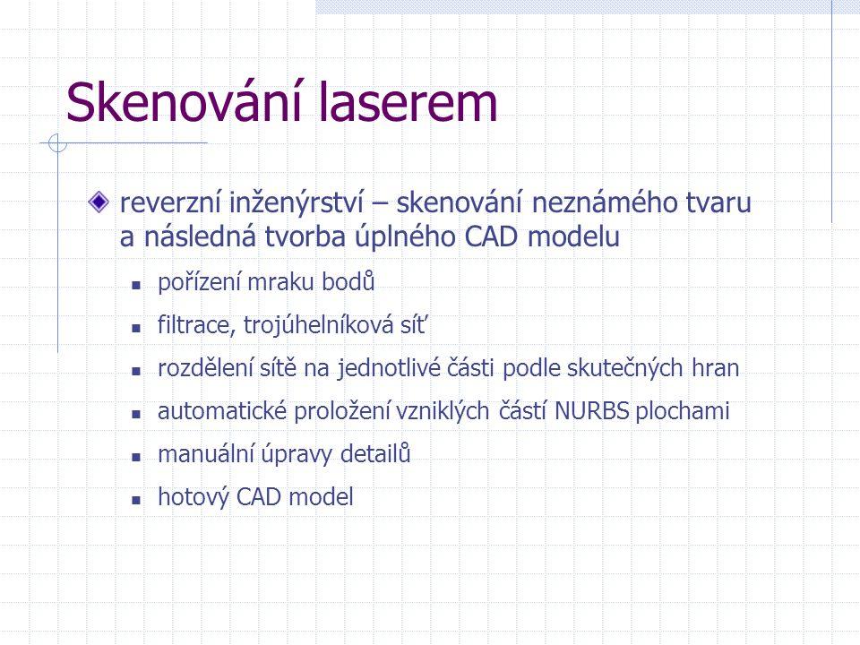 Skenování laserem reverzní inženýrství – skenování neznámého tvaru a následná tvorba úplného CAD modelu pořízení mraku bodů filtrace, trojúhelníková s