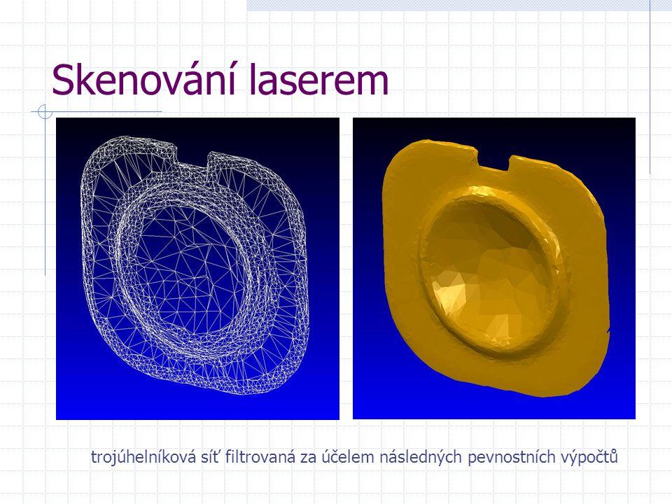 Skenování laserem trojúhelníková síť filtrovaná za účelem následných pevnostních výpočtů