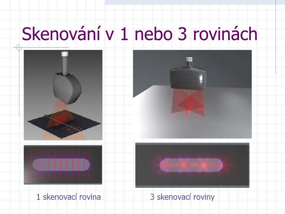 Skenování v 1 nebo 3 rovinách 1 skenovací rovina 3 skenovací roviny