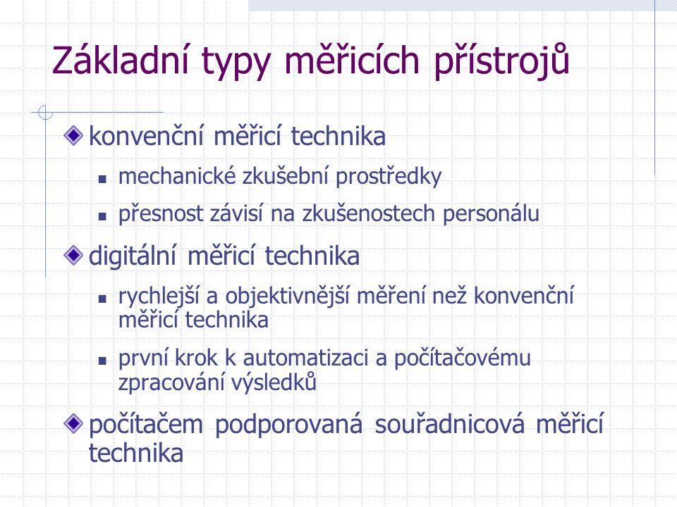 Základní typy měřicích přístrojů konvenční měřicí technika mechanické zkušební prostředky přesnost závisí na zkušenostech personálu digitální měřicí t