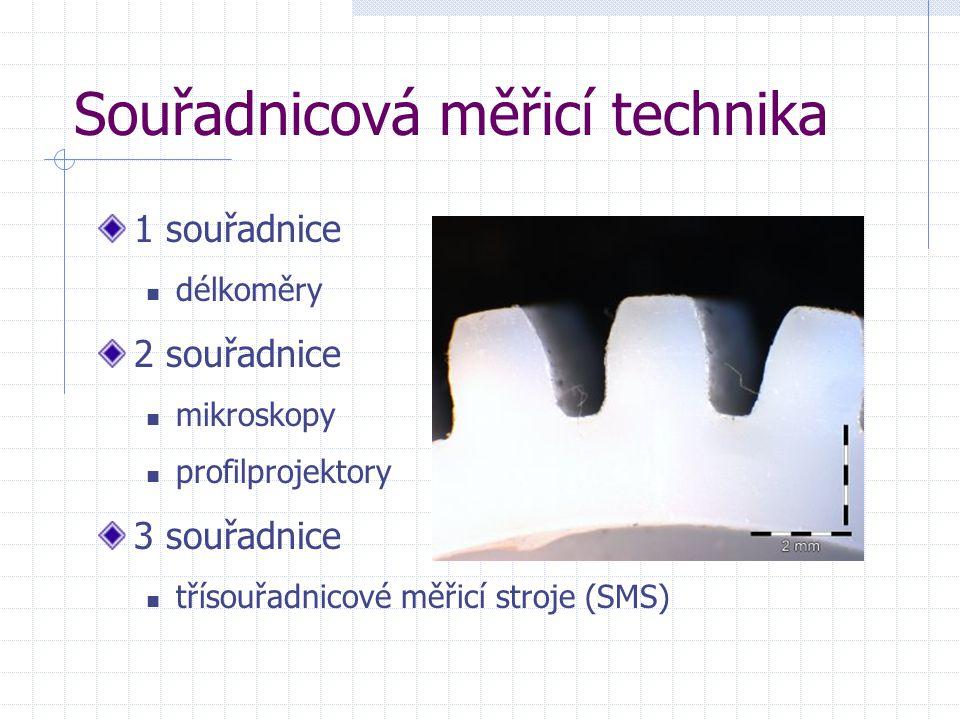 Souřadnicová měřicí technika 1 souřadnice délkoměry 2 souřadnice mikroskopy profilprojektory 3 souřadnice třísouřadnicové měřicí stroje (SMS)
