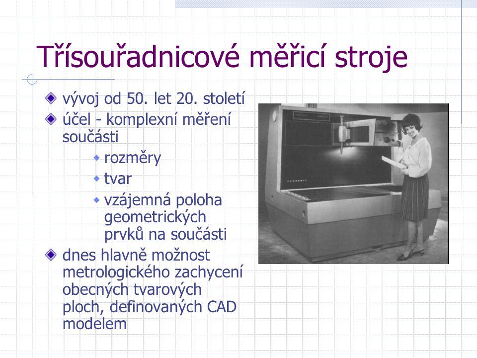 Třísouřadnicové měřicí stroje vývoj od 50. let 20. století účel - komplexní měření součásti  rozměry  tvar  vzájemná poloha geometrických prvků na