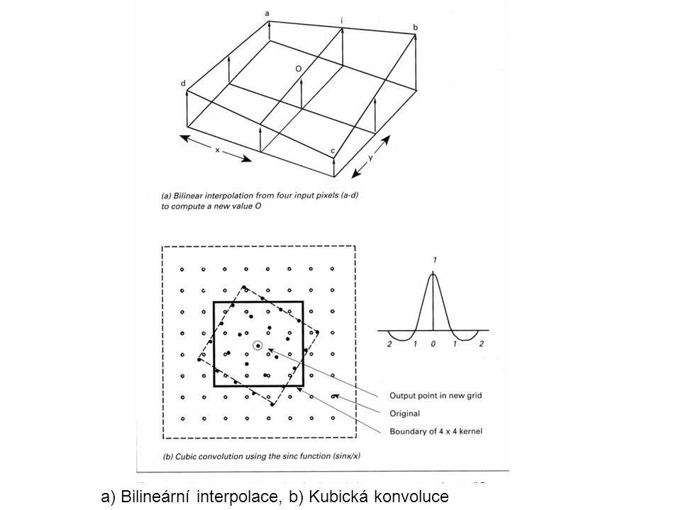 a) Bilineární interpolace, b) Kubická konvoluce