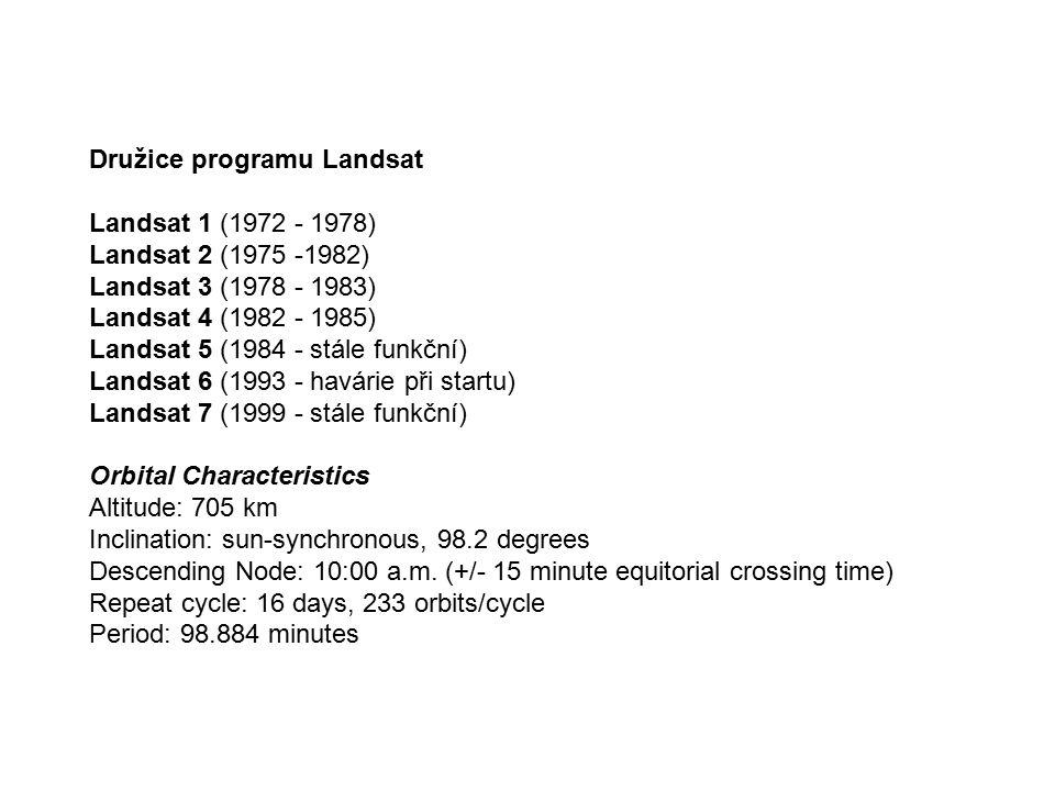 Družice programu Landsat Landsat 1 (1972 - 1978) Landsat 2 (1975 -1982) Landsat 3 (1978 - 1983) Landsat 4 (1982 - 1985) Landsat 5 (1984 - stále funkčn