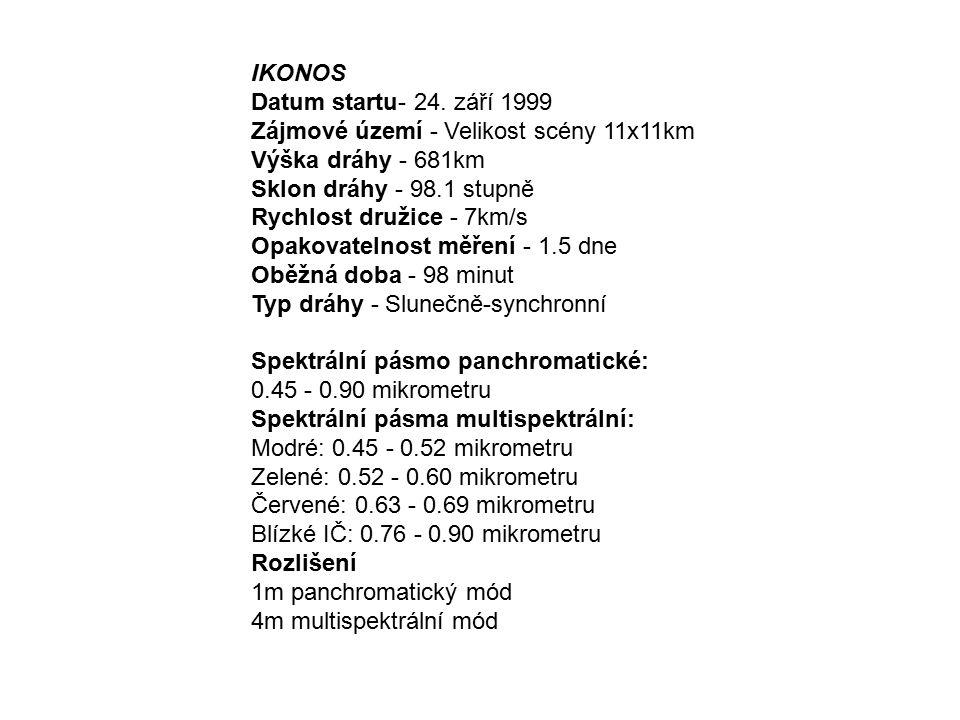 IKONOS Datum startu- 24. září 1999 Zájmové území - Velikost scény 11x11km Výška dráhy - 681km Sklon dráhy - 98.1 stupně Rychlost družice - 7km/s Opako