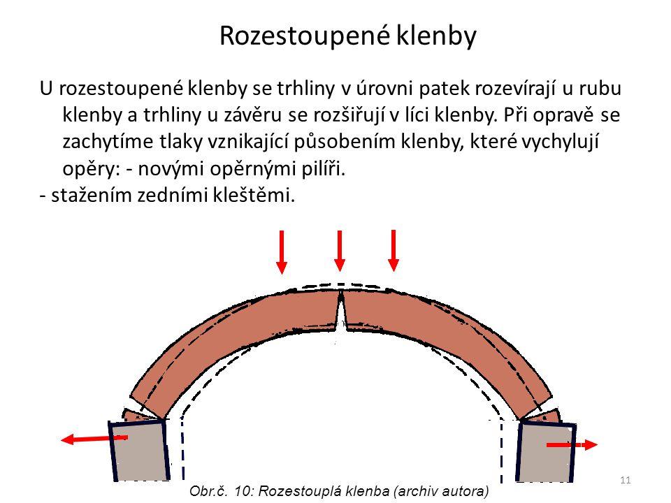 11 Rozestoupené klenby U rozestoupené klenby se trhliny v úrovni patek rozevírají u rubu klenby a trhliny u závěru se rozšiřují v líci klenby.