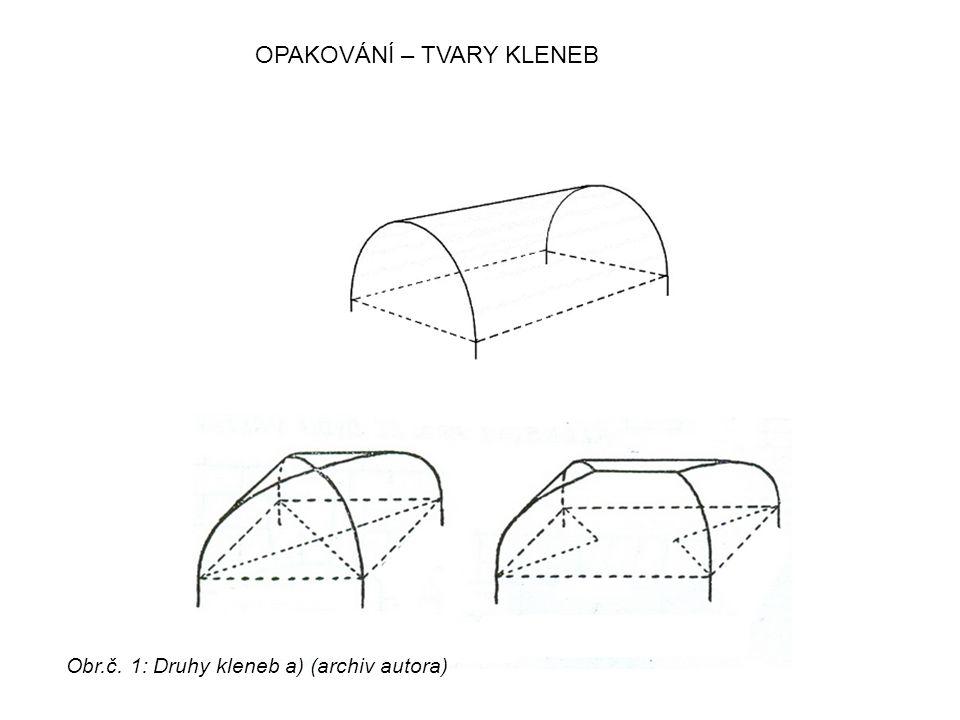 OPAKOVÁNÍ – TVARY KLENEB Obr.č. 1: Druhy kleneb a) (archiv autora)