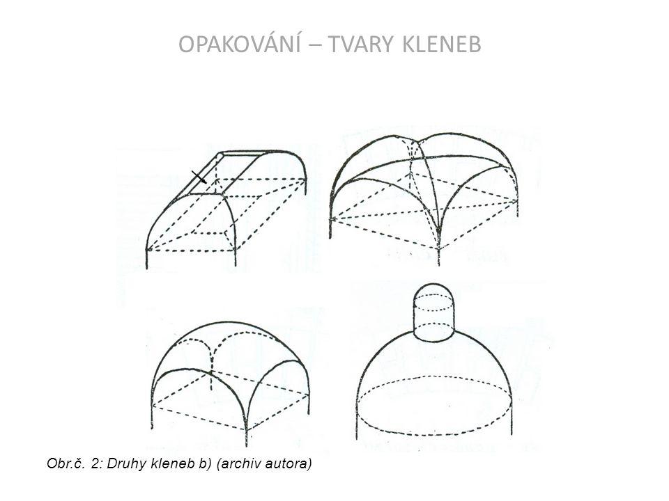 OPAKOVÁNÍ – TVARY KLENEB Obr.č. 3: Druhy kleneb c) (archiv autora)