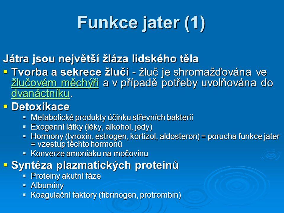 Funkce jater (1) Játra jsou největší žláza lidského těla  Tvorba a sekrece žluči - žluč je shromažďována ve žlučovém měchýři a v případě potřeby uvol