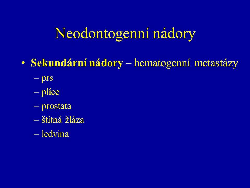 Neodontogenní nádory Sekundární nádory – hematogenní metastázy –prs –plíce –prostata –štítná žláza –ledvina