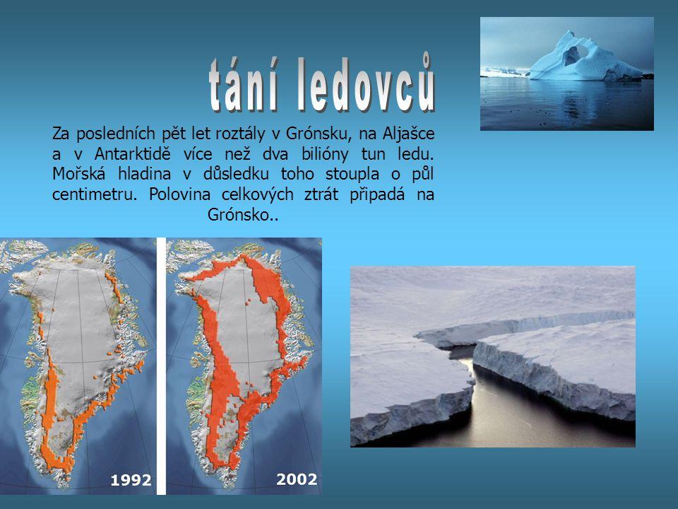 Za posledních pět let roztály v Grónsku, na Aljašce a v Antarktidě více než dva bilióny tun ledu. Mořská hladina v důsledku toho stoupla o půl centime
