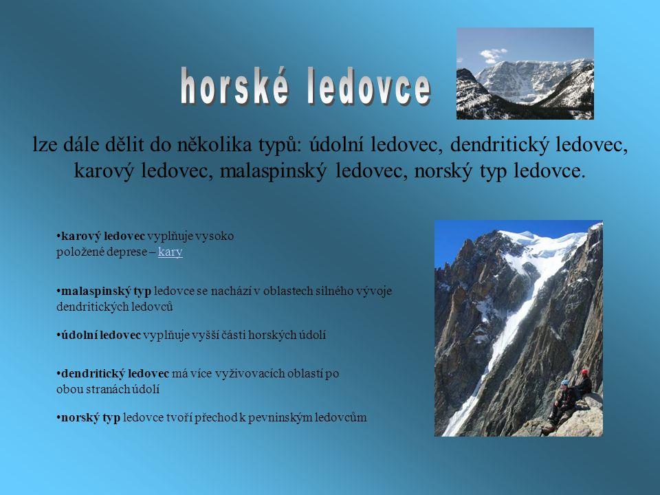 lze dále dělit do několika typů: údolní ledovec, dendritický ledovec, karový ledovec, malaspinský ledovec, norský typ ledovce. karový ledovec vyplňuje