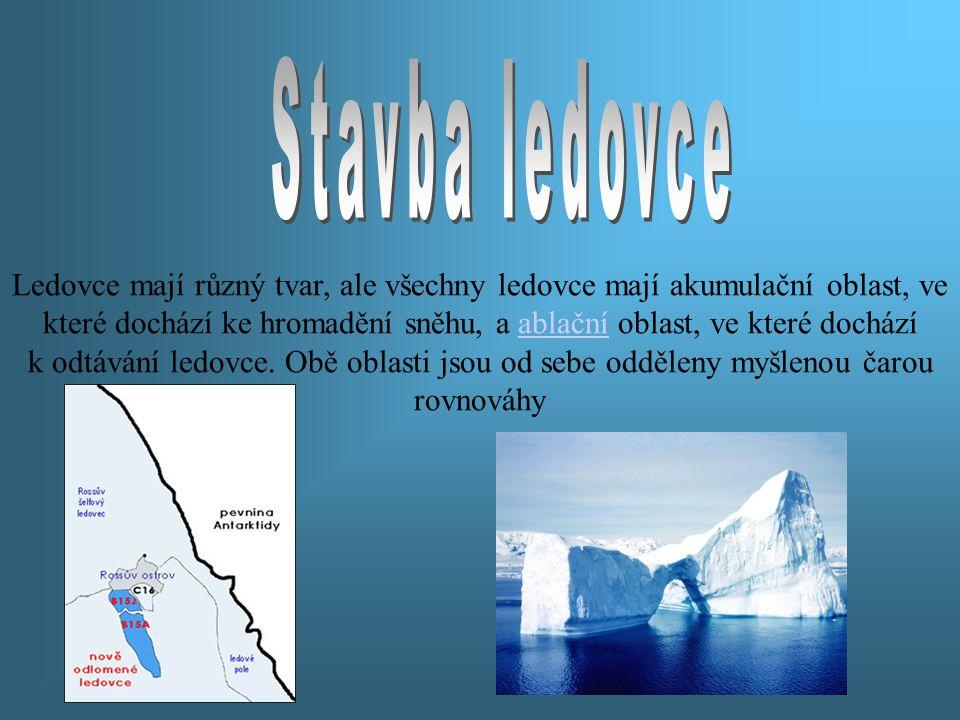 Ledovce mají různý tvar, ale všechny ledovce mají akumulační oblast, ve které dochází ke hromadění sněhu, a ablační oblast, ve které dochází k odtáván