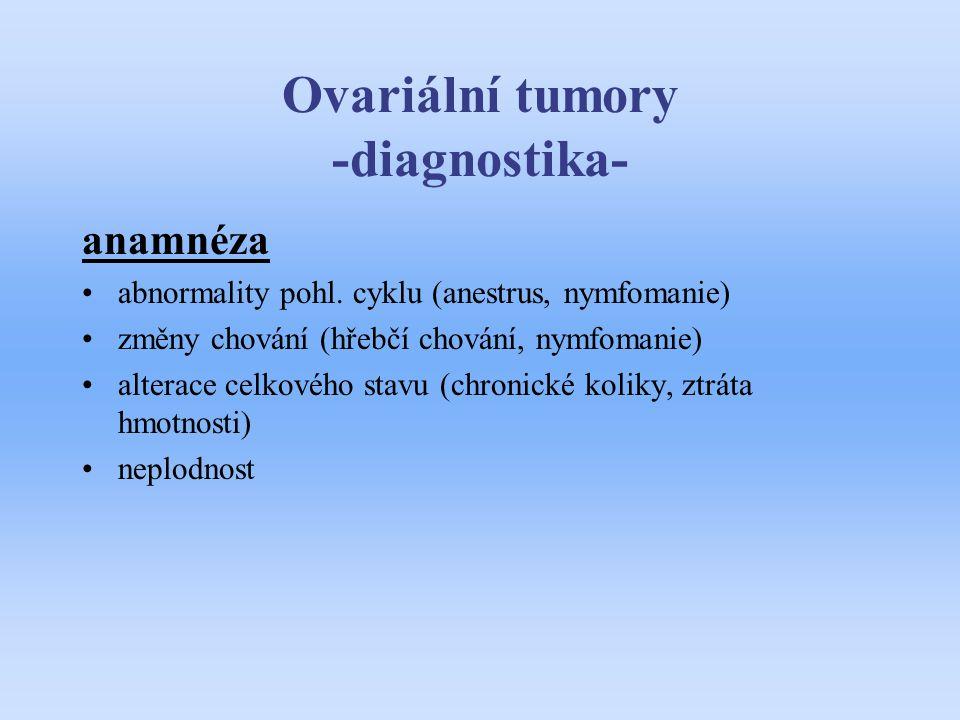 Ovariální tumory -diagnostika- anamnéza abnormality pohl. cyklu (anestrus, nymfomanie) změny chování (hřebčí chování, nymfomanie) alterace celkového s