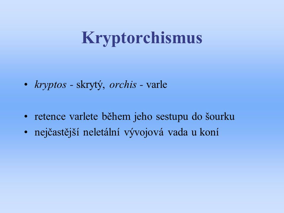 Kryptorchismus kryptos - skrytý, orchis - varle retence varlete během jeho sestupu do šourku nejčastější neletální vývojová vada u koní