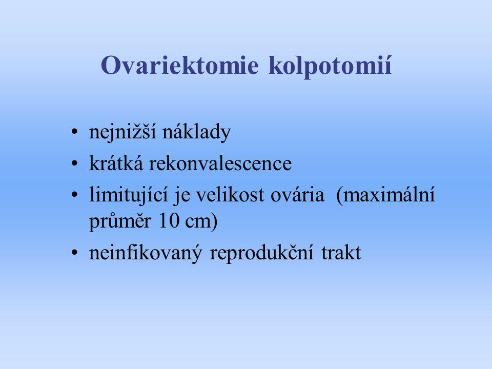 Ovariektomie kolpotomií nejnižší náklady krátká rekonvalescence limitující je velikost ovária (maximální průměr 10 cm) neinfikovaný reprodukční trakt