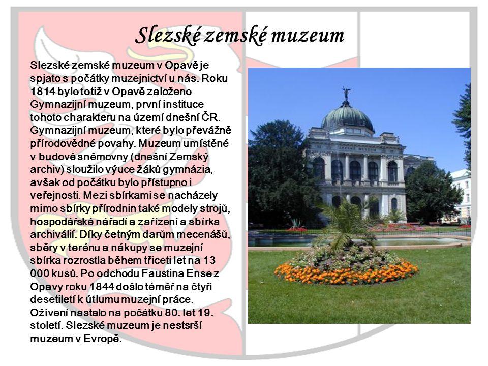 Slezské zemské muzeum v Opavě je spjato s počátky muzejnictví u nás. Roku 1814 bylo totiž v Opavě založeno Gymnazijní muzeum, první instituce tohoto c