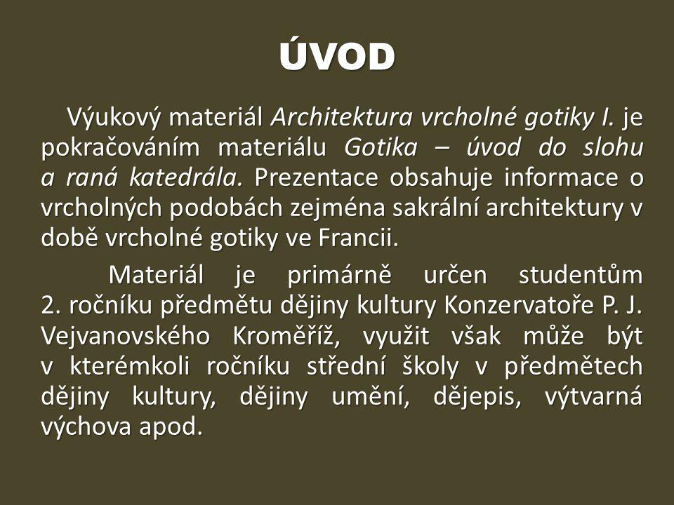 Gotická architektura ve Francii Tzv.klasická gotika – 13.