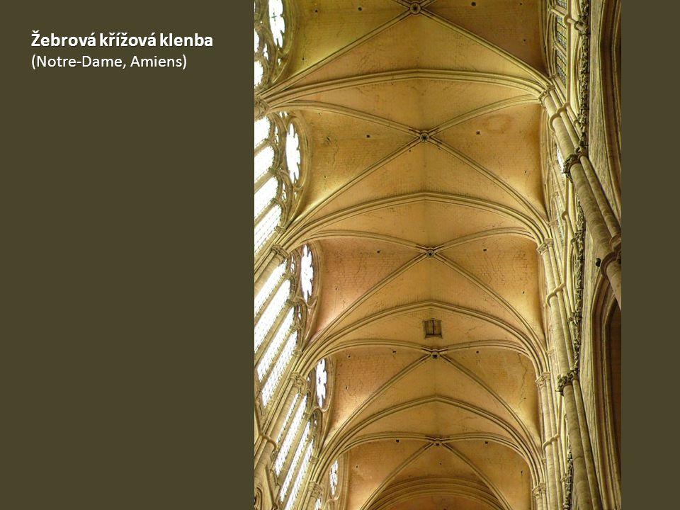 Katedrála Notre-Dame v Amiens 1220-1366 1220-1366 Trojlodní bazilika s transeptem Trojlodní bazilika s transeptem Dvojitý chórový ochoz Dvojitý chórový ochoz Největší gotická katedrála Největší gotická katedrála Výška lodí 43,3 m, délka 145 m Výška lodí 43,3 m, délka 145 m Plány Roberta de Luzarches Normované rozměry kvádrů Normované rozměry kvádrů Rychlejší práce (výroba po celý rok) Rychlejší práce (výroba po celý rok) Štíhlé sloupy, prosvětlený prostor Štíhlé sloupy, prosvětlený prostor