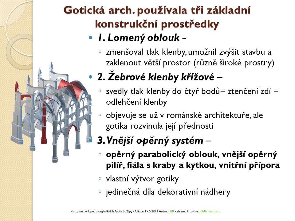 Gotická arch.používala tři základní konstrukční prostředky 1.