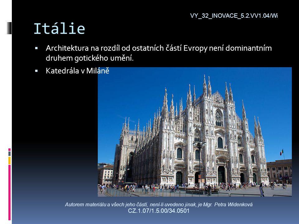 Itálie  Architektura na rozdíl od ostatních částí Evropy není dominantním druhem gotického umění.