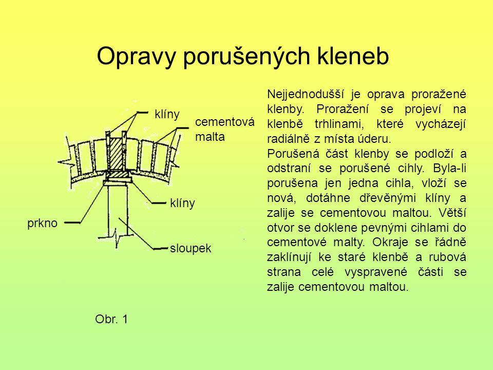 Přetížená klenba Obr.2 porucha klenby Přetížená klenba zpravidla rozhání (oddaluje) opěrné zdi.