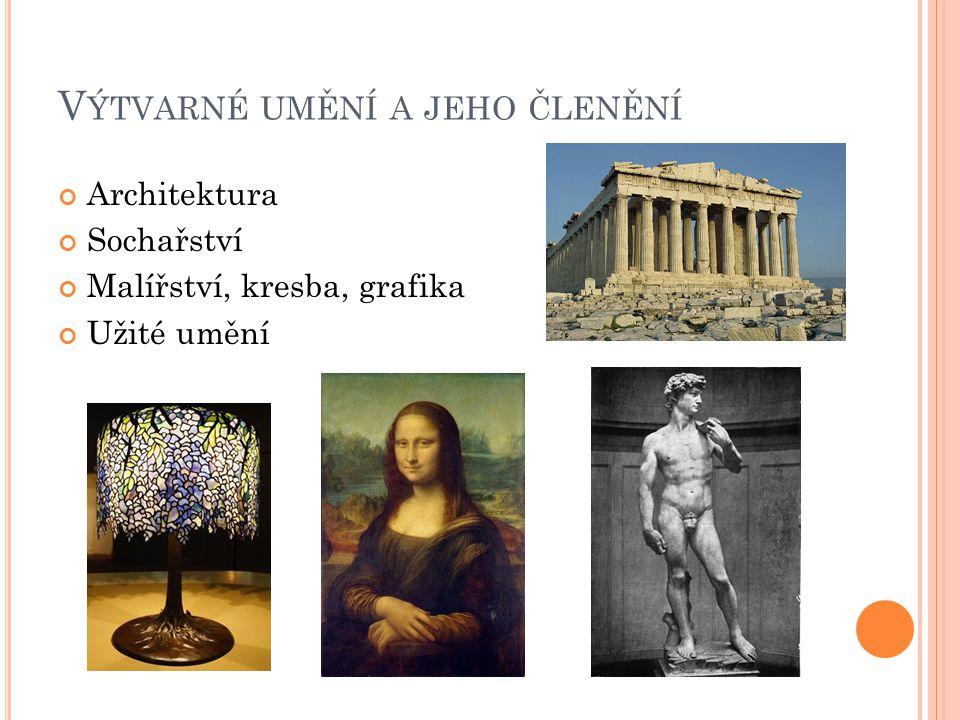 V ÝTVARNÉ UMĚNÍ A JEHO ČLENĚNÍ Architektura Sochařství Malířství, kresba, grafika Užité umění