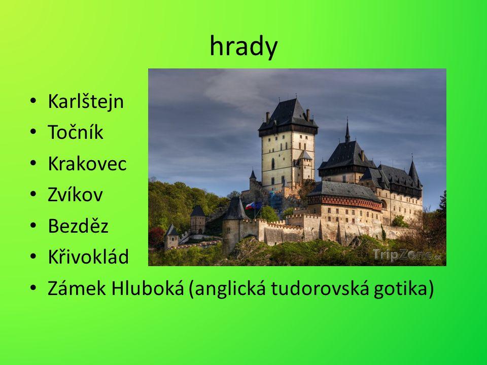 hrady Karlštejn Točník Krakovec Zvíkov Bezděz Křivoklád Zámek Hluboká (anglická tudorovská gotika)