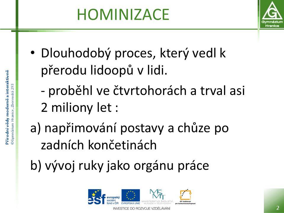 Přírodní vědy moderně a interaktivně ©Gymnázium Hranice, Zborovská 293 HOMINIZACE Dlouhodobý proces, který vedl k přerodu lidoopů v lidi. - proběhl ve